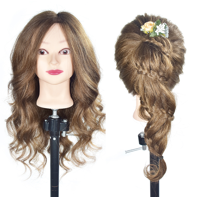 80% Human Hair Mannequin Head Hairdressing Hair Training Head Mannequin Hair Natural Hairdresser Mannequin Head With Human Hair graceful short side bang fluffy natural wavy capless human hair wig for women