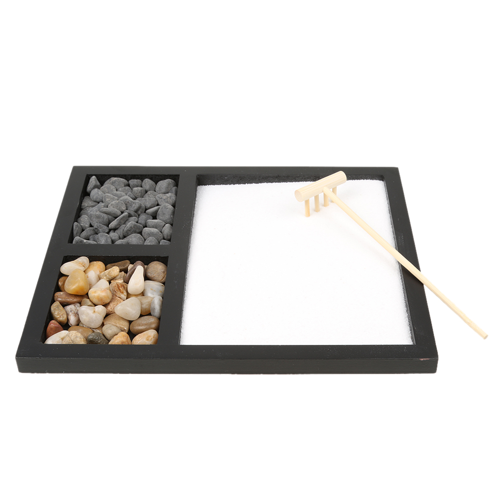 Table Desk Zen Garden Sand Tray Natural Stones Wood Rake Meditation Craft Home Decorative Plate Kids Toy Accessory