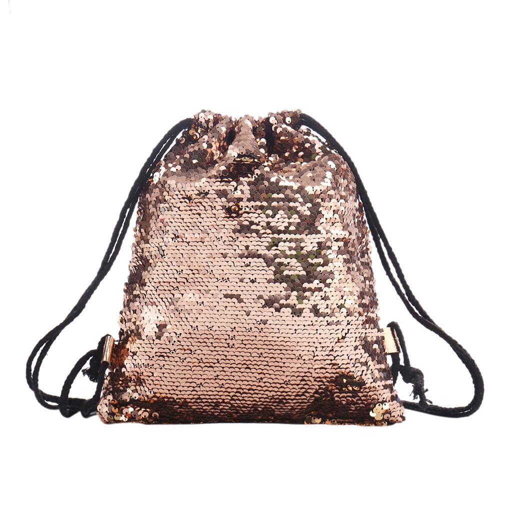 Women Sequins String Backpack Reversible Glitter Drawstring Bags Travel Sports School Backpack