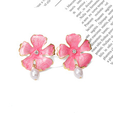 New Drop Earrings Colorful Flowers Shaped Jewelry Statement Hanging Dangle Pendientes Exaggerated Style Brincos Bijoux
