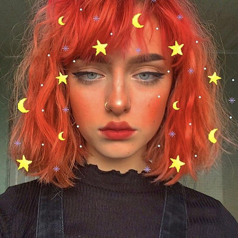 4 Colors Harajuku Kawaii Orange Lolita Daily Gothic Short Curly Hair Wig Synthetic Cosplay Costume Wigs + Wig Cap