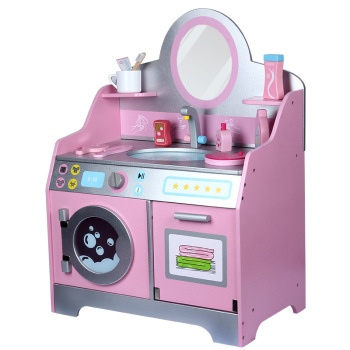 New Kids Simulated Wooden Princess Dressing Table Washing Platform Girls Jewelry Box Toys