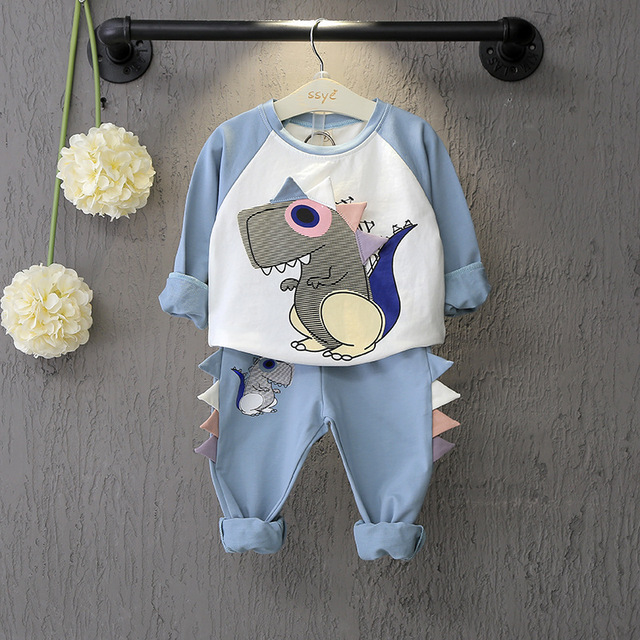 Baby universal dinosaur pattern long sleeve suit 2017 autumn and winter new cartoon printing pattern baby casual wear h19720