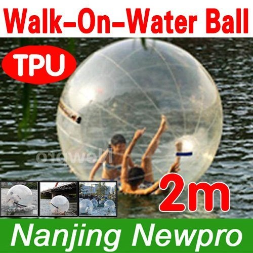 2m diameter 0.7mm thickness TPU Zorb Water Walking Ball walk on water inflatable water roller with TIPIZ zipper (00008)