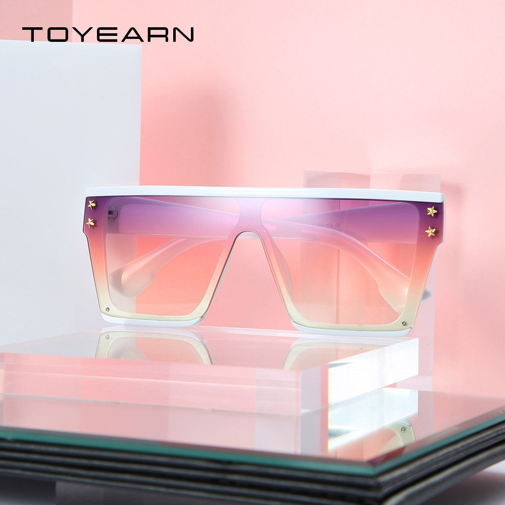 2019 New Fashion Oversized Sunglasses Women Star Big Frame Vintage Flat Top Mirror Shades Gradient Square Sun Glasses For Female