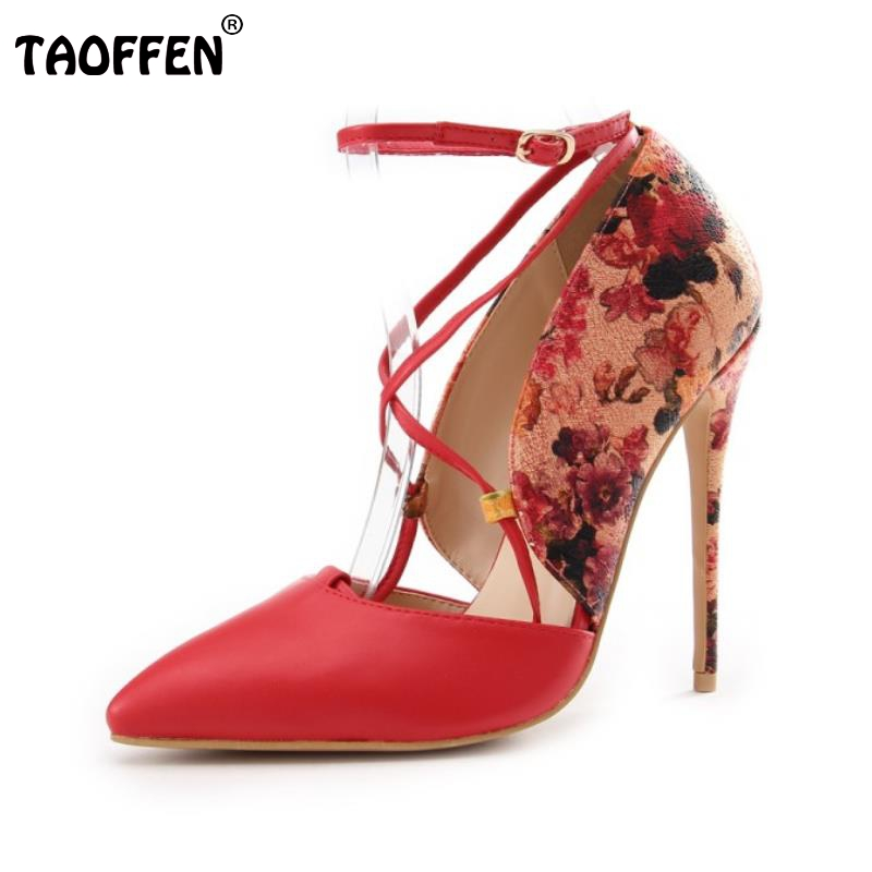TAOFFEN Women High Heel Sandals Ladies Print Shoes Woman Pointed Toe Cross Strap Shoes Sexy Buckle Shoes Footwear Size 35-39 ladies 1 7 sexy pointed toe back strap western mixed color high heel sandals shoes women big size shoes 4 14 pink blue white