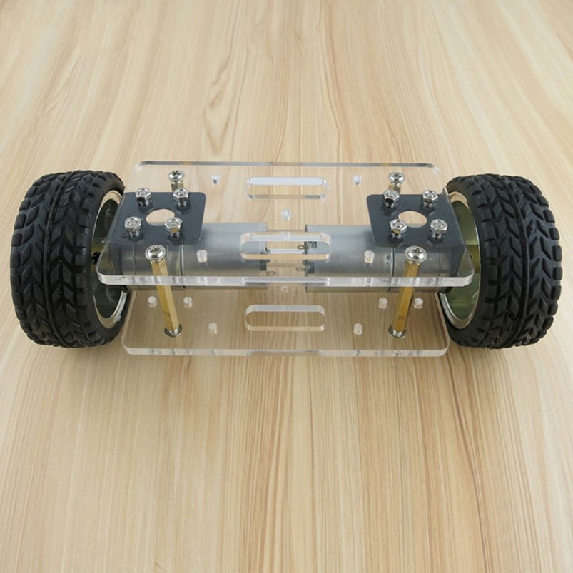 2WD DIY Robot Kit Acrylic Plate Car Chassis Frame Self-balancing Mini Two-drive 2 Wheels 176*65mm Technology Invention Toys 2 wheel drive robot chassis kit 1 deck