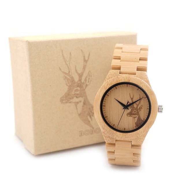 BOBO BIRD E04 Women's Elk Deer Design Dial Fashion Bamboo Watch Japan Quartz Bamboo Band Watches As Best Gift For Ladies Relojio Women's Watches