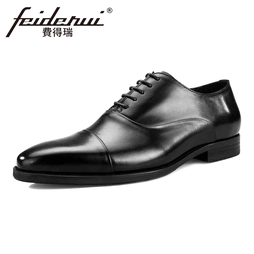 High Quality Genuine Leather Men's Wedding Oxfords Pointed Toe Lace-up Man Party Flats Formal Dress Designer Male Shoes BQL82 good quality men genuine leather shoes lace up men s oxfords flats wedding black brown formal shoes