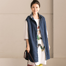 2017 female spring and autumn all match with hood letter waistcoat print medium long after denim