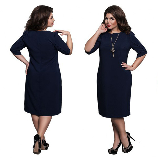 L-6XL Large Size 2020 Spring Dress Big Size Casual Dress Blue Red Green Straight Dresses Plus Size Women Clothing Vestidos 6