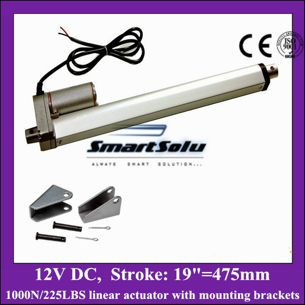 цена на 12v linear actuator with mounting brackets, 19inch/ 475mm stroke with 1000N/ 225lbs load electric linear actuators