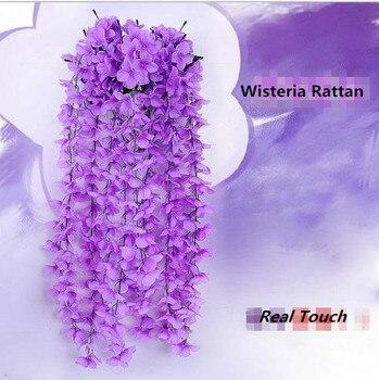 10pc/lot Artificial Wisteria Flower Rattan Silk Flower Vines Garlands For Wedding Party Centerpieces Decorations Home Ornament