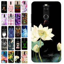 Luxury Courtlike Lotus Flower Case for Fly FS520 Selfie 1 Flora Cover Pattern Bag Floral Phone Cases Housing Shell(China)