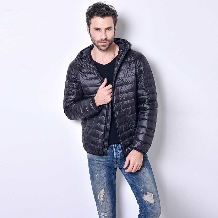 2016 New Ultralight Men 90% White Duck Down Jacket Winter Autumn Zipper Duck Down Coat Waterproof Down Parkas Outerwear Hooded