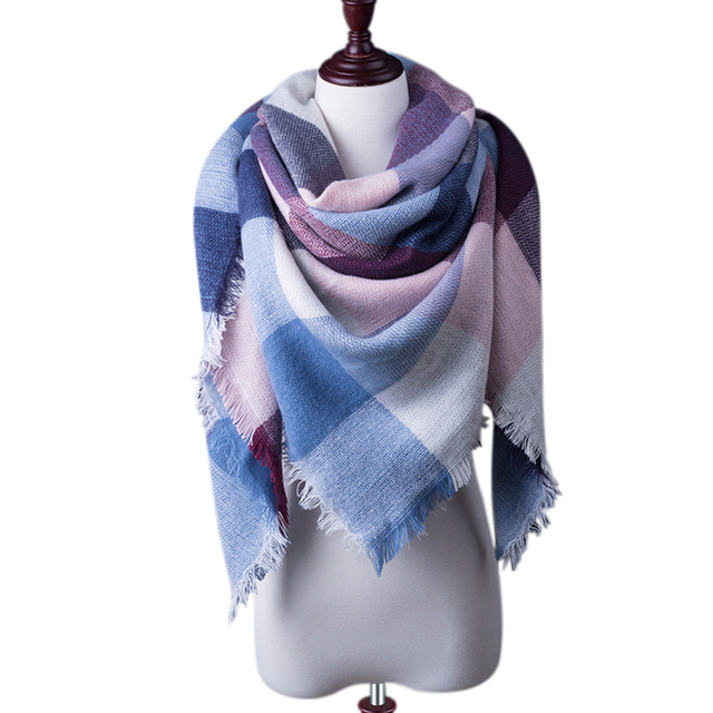 New Fashion Winter Plaid Scarf Women Warm Scarf Shawls Ladies Basic Scarves Pashmina Luxury Brand Large Echarpe Drop Shipping