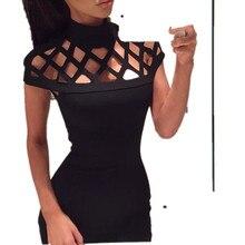 a0d2164a328b36 Snowshine YLIW Womens Choker Hoge Hals Bodycon Dames Caged Mouwen Mini Jurk  gratis verzending groothandel