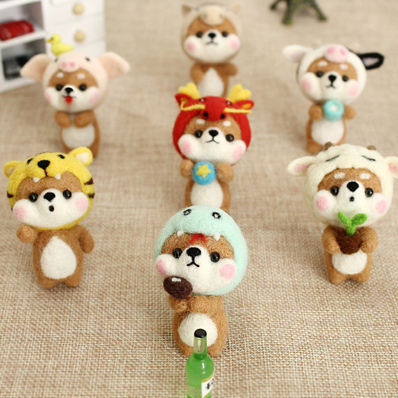 2020 Handmade Animal Dragon Sheep Tiger Rabbit Mouse Doll Wool Felt Craft Needle Kit Non Finished DIY At Home With Kids
