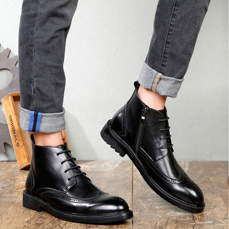 YIGER Genuine Leather Boots for Men 26