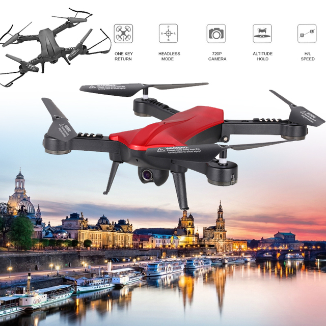 Lensoul 2.4GHz Drone Folding 4 Channel 3-Axis Gyro WIFI FPV 720P Wide Angle Camera Video Set Height Remote Control Quadcopter