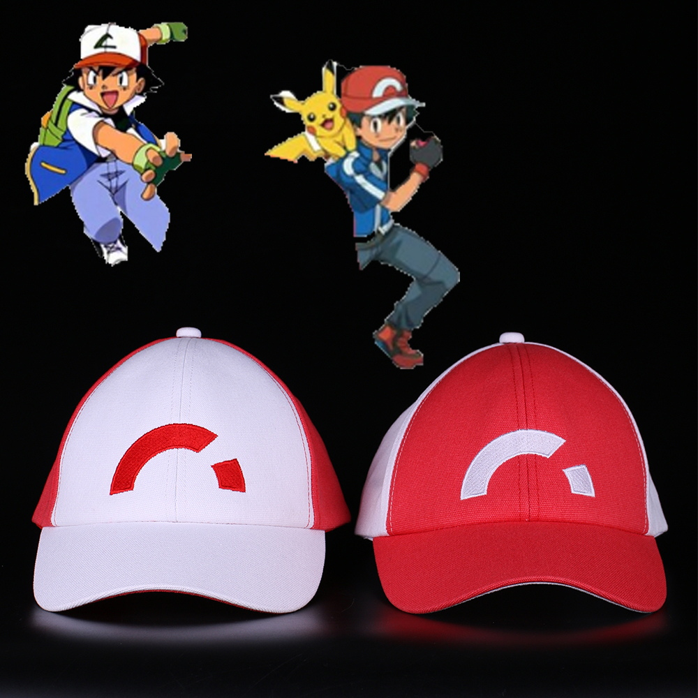 Anime Pocket Monster Cosplay Costumes Caps Pokemon Caps Baseball Ash Ketchum Halloween Party Prop