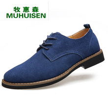 71d24937d8b5 Muhuisen Blue Men Casual Shoes Genuine Leather Men Lace Up Shoes With  Quality Cowhide Men Leather Shoes Men Casual Shoes