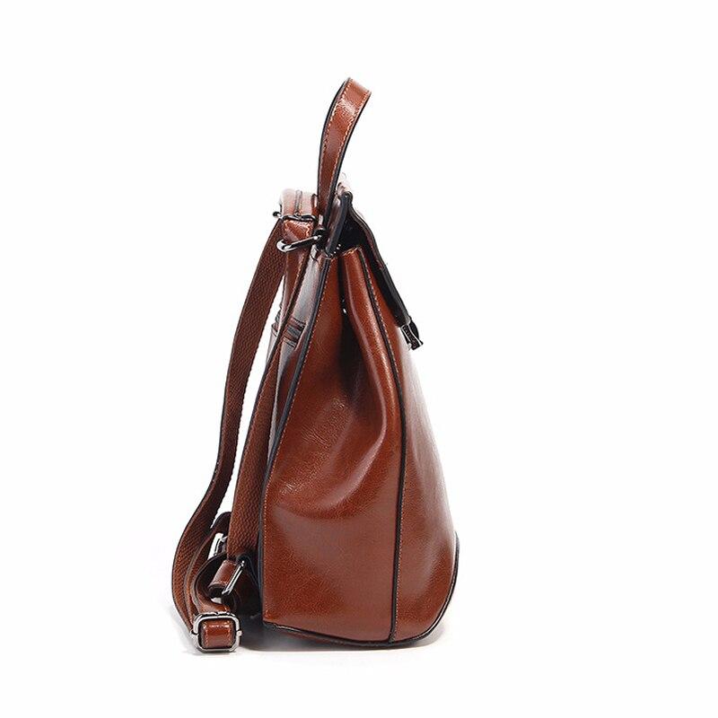 Mode brown Wachs Öl Rucksack Neue Lock Schnalle Koreanischen Black Flut Scjool Leder 2019 Stil red g6qt6w1B
