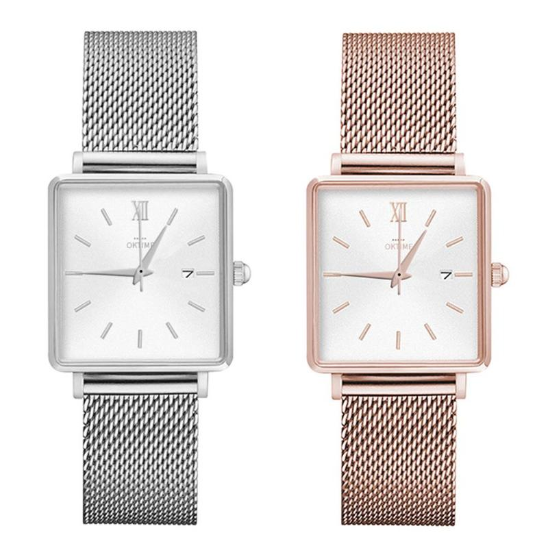 Quartz Watch Women Leather Band Wrist Watch Fashion Waterproof Bracelet Quartz Watch Casual Women Round Dial Analog Wristwatch