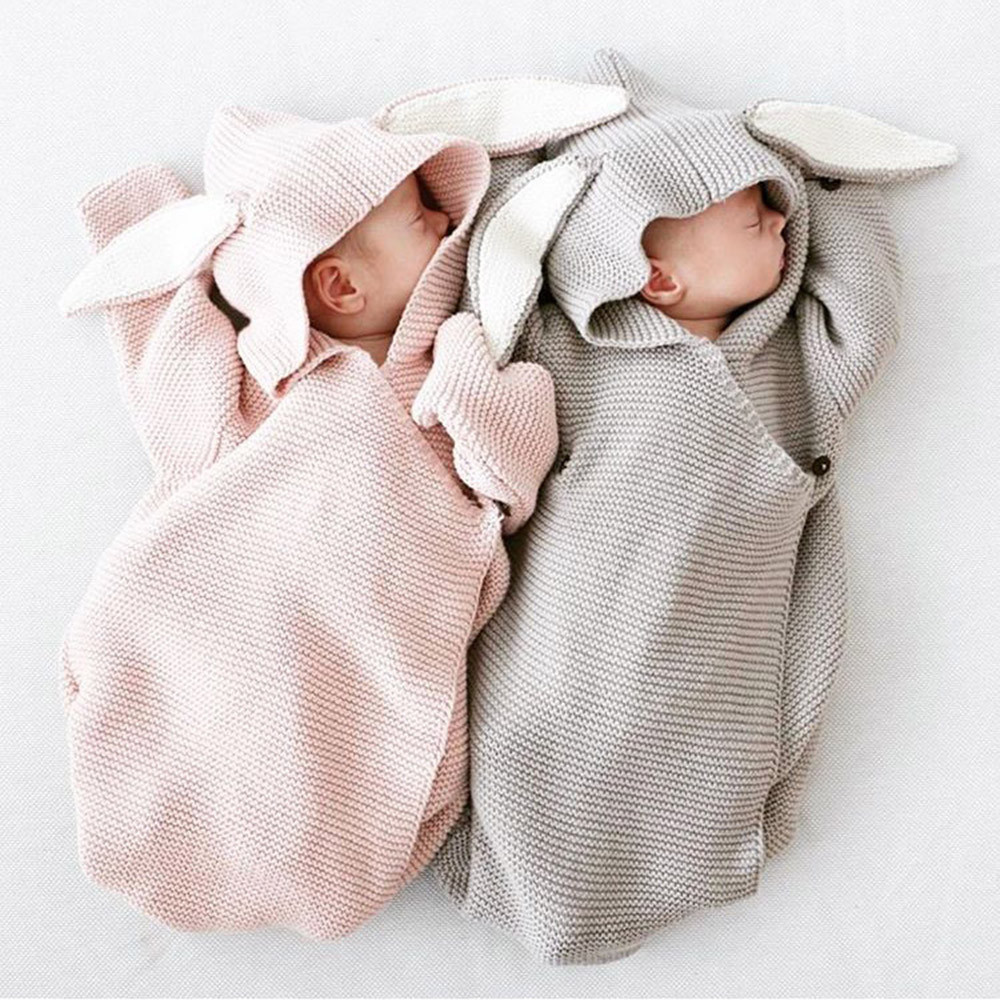 Trendy Newborn Baby Hooded Blanket Cartoon Rabbit Ear Swaddling Infant Sleeping Bag Soft Solid Wrap Knitted Photography Prop@35