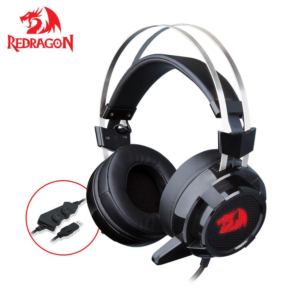 Redragon 7.1 canal Surround stéréo casque de jeu sur l'oreille casque avec micro Vibration individuelle suppression de bruit lumière LED