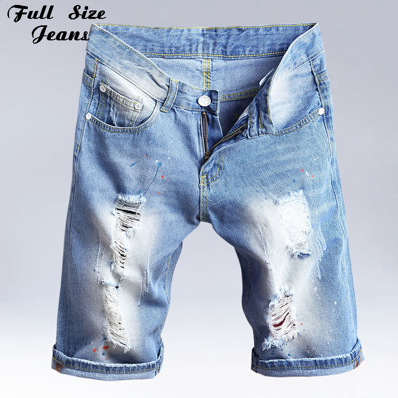 Summer Plus Size Bermuda   Shorts   Feminino Washed Ripped Denim Capris Jeans Femme Boyfriends Ripped Jeans   Short   3Xl 36 40 4XL 7XL