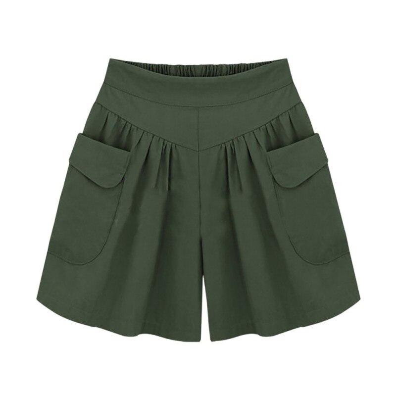 Plus Size Summer Casual   Shorts   Women Wide Leg Loose   Shorts   Ladies Khaki High Waist Thin Pantalones Cortos XL- 4XL 5XL