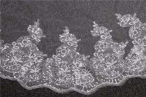 Image 4 - Velo de novia con borde de encaje de 4 metros, velo de novia con borde de encaje en color marfil y blanco, accesorios de boda para la catedral, 2019