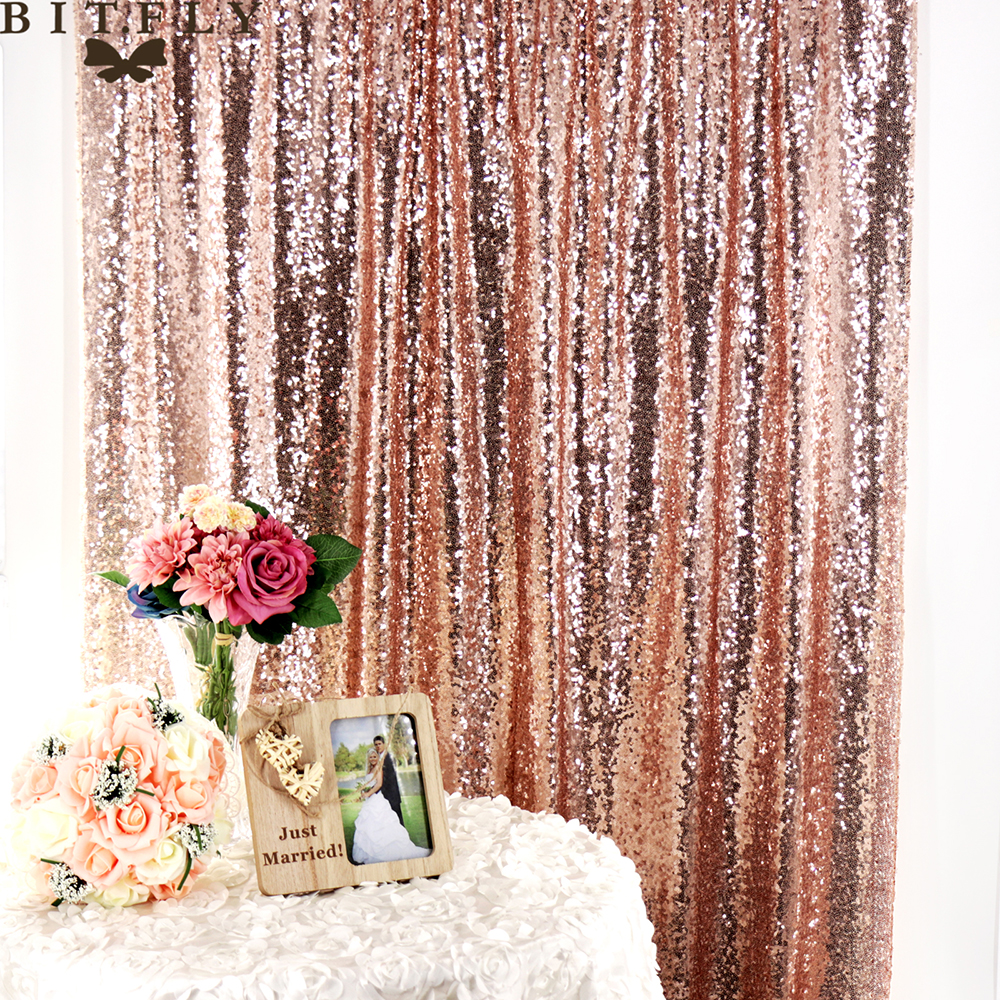 Gold Rose Gold Shimmer Sequin Backdrop Curtain For Wedding Mariage Birthday Party Anniversary Photo Booth Christmas Background