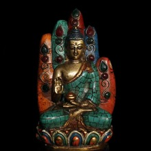 Old Tibet Buddhism handmade pure copper inlaid Semi-precious stones turquoise Sakyamuni statue Sitting in Buddha hand sculpture collecting old chinese handmade pure copper inlaid semi precious stones turquoise sleeping buddha sculpture sakyamuni statue