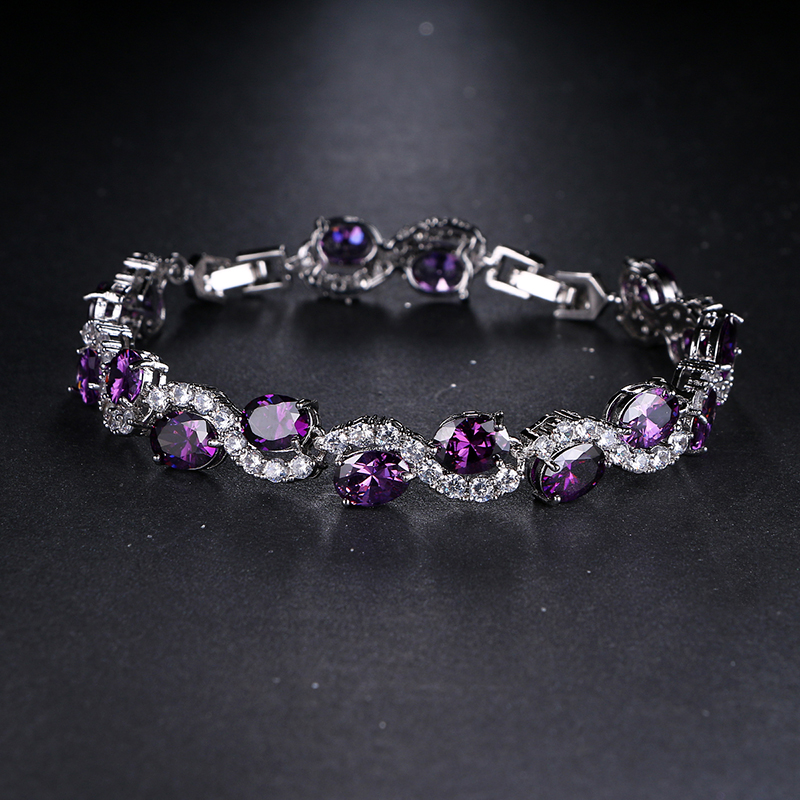 Emmaya New Fashion Purple Zircon Bangle Bracelets Fashion New Design Joyería de boda para mujeres
