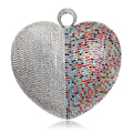 Heart Shaped One Side Rhinestones Women Evening Bags Rings Colorful Silver Gold Black Mixed Color For Wedding Party Handbag