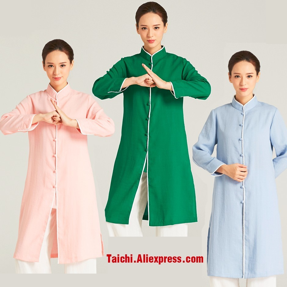Linen Traditional Style Chinese Kung Fu Tai Chi Uniform Wudang Taoist Robe For Women Female A Set Robe And Pants