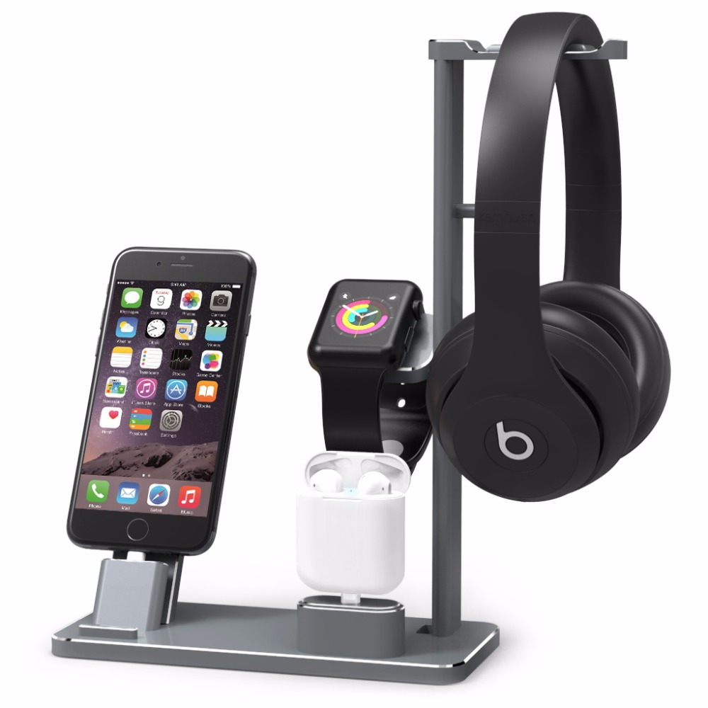 Aluminium Headphone Stand Holder Charging Dock Charger Station Mount Base For Apple Watch Series 2/1 iPhone 7 7plus 6s 6plus X 8 usb charger dock charging cradle for samsung gear fit2 pro sm r360 smart watch cable cord charge base station for fit 2 sm r360