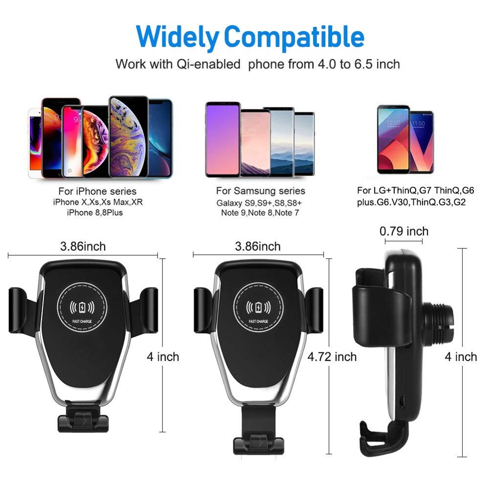 Image 5 - Qi Wireless Car Charger for iPhone 11 Pro XS Max XR X 8 Gravity Phone Holder 10W Fast Car Wireless Charger for Samsung S10 S9 S8-in Mobile Phone Chargers from Cellphones & Telecommunications on