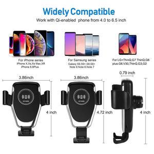 Image 5 - צ י אלחוטי מטען לרכב עבור iPhone 11 פרו XS Max XR X 8 הכבידה טלפון מחזיק 10W מהיר רכב אלחוטי מטען עבור סמסונג S10 S9 S8