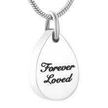 IJD9999 Stainless Steel Souvenir FOREVER LOVED Pendant Cremation Keepsake Necklace for Ashes Urn Memorial Jewelry