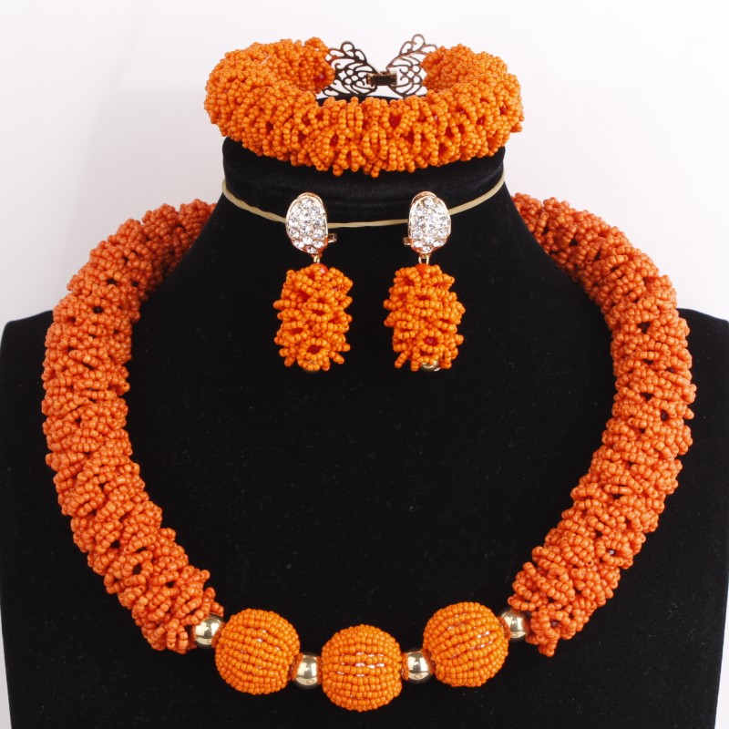 Dudo 18.8 inches Bold Chunky Choker Necklace Set Orange Beaded Celebrity Fine Ladies Party Jewelry Set With bracelet EarringsDudo 18.8 inches Bold Chunky Choker Necklace Set Orange Beaded Celebrity Fine Ladies Party Jewelry Set With bracelet Earrings
