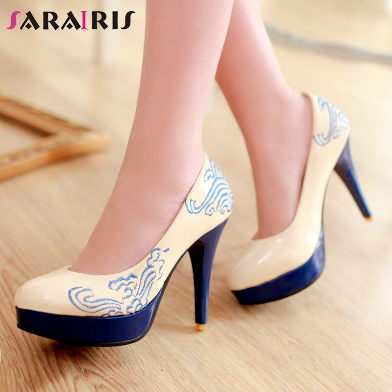SARAIRIS New Plus Size 28-52 Patent Pu Leather High Heels Platform Shoes Woman Casual Party Ol Sexy Retro Spring Autumn Pumps