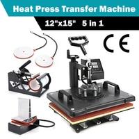 1set 12x15 5 in 1 Digital Heat Press Transfer Machine Transfer Sublimation For T Shirt Mug Hat Print Heat Transfer Machine