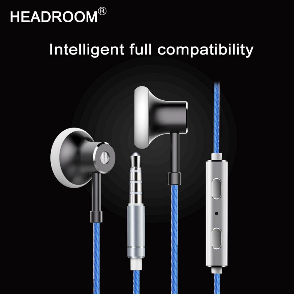 HEADROOM MS16 Auricolare in-ear con Microfono Auricolare Sport Donna Uomo Cancellazione del Rumore Stereo Bass Cuffie per Computer iPhone xiaomi
