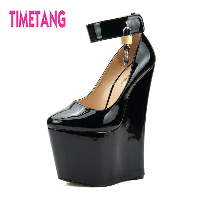 5c5a2cff5e4d Amazing Super Fashion Lady GaGa 22cm High Heel Platform Wedges  Lock-keyWoman Pump Plus Size 40-48 Drag Queen Cross Dresser Shoes