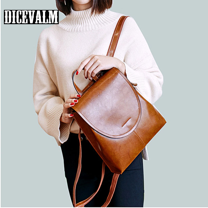 100% Genuine Leather Backpack For Girls School Bag Cow Leather Korean Style Women Backpack Female 2018 Soft Retro College Ladies cow genuine leather backpack female leisure style school bag ladies high quality leather daily bag women soft travel bag n140