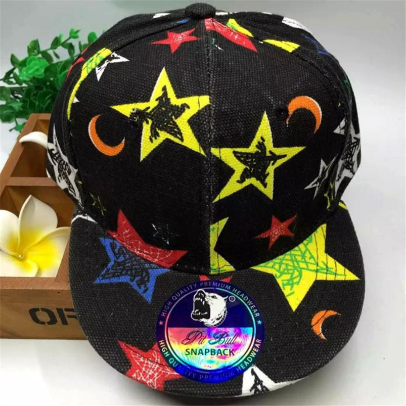 Baseball     Cap   Kids Baby Children 2018 New Summer Black Hat Star Pattern Hip-Hop Adjustable Casual Hat Fall Girl #M26