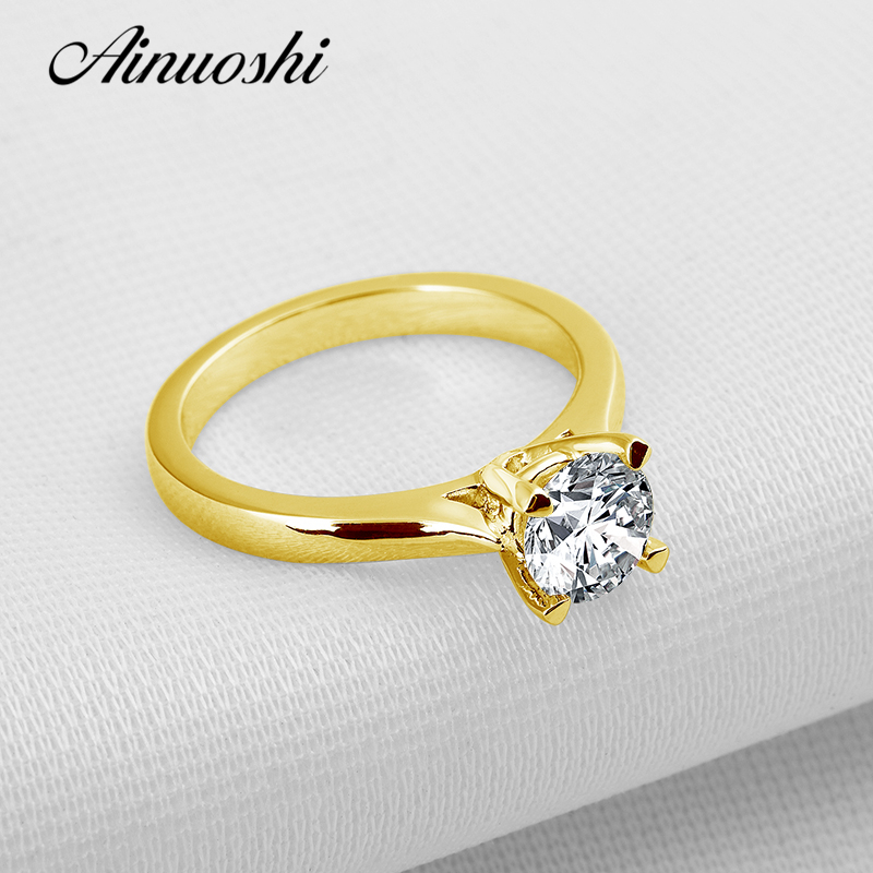 AINUOSHI 10k Solid Yellow Gold Wedding Ring Simple Solitaire 1 ct Simulated Diamond Brilliant Anelli Donna Women Engagement Ring ainuoshi 10k solid yellow gold wedding ring 1 25 ct solitaire simulated diamond anelli donna brilliant proposal rings for women